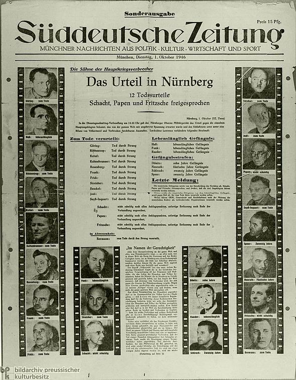 Erfolgte Entnazifizierung der Hauptangeklagten  durch Todesurteile und Gefängnisstrafen in Nürnberg 1946 - Süddeutsche Zeitung von 1. Oktober 1946