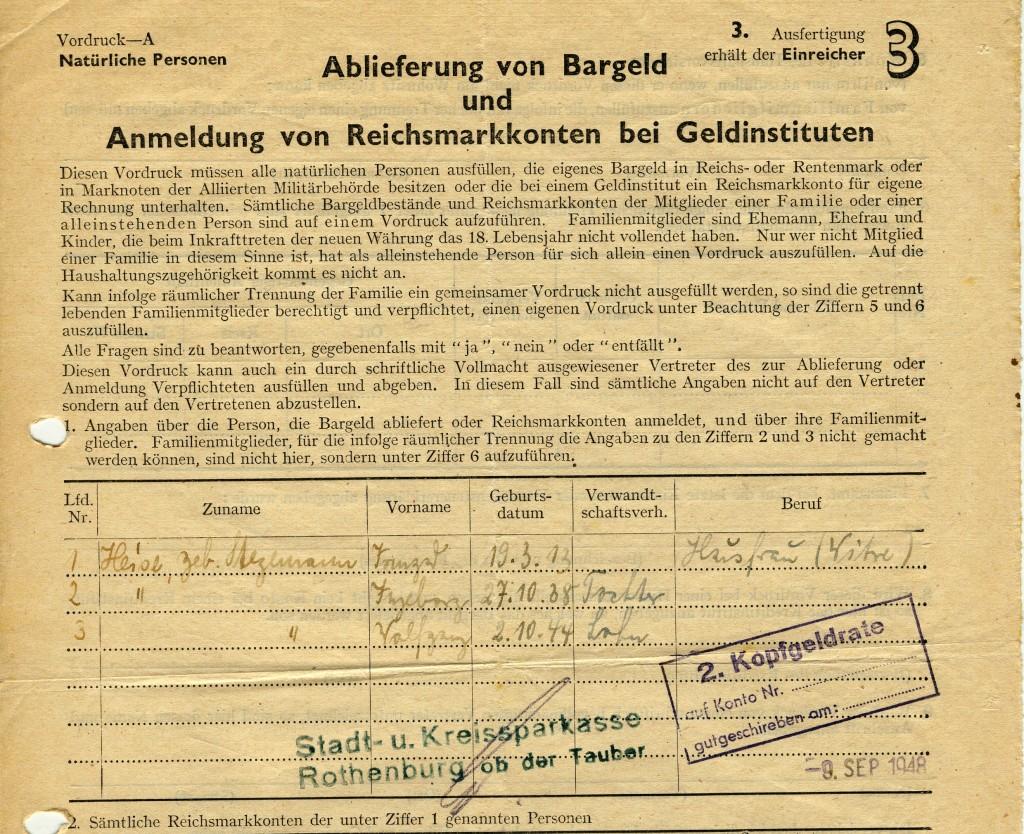 """Anmelden der Reichsmark für das """"Kopfgeld"""" vom .....1948"""