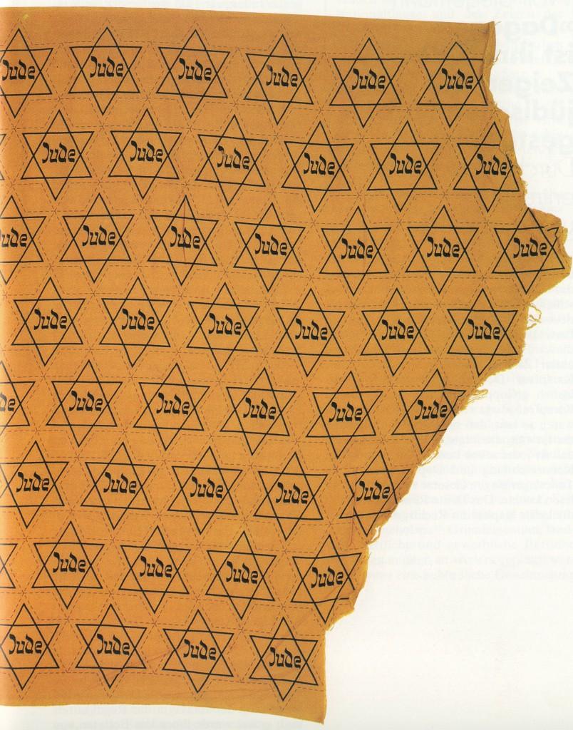Stoffbahn aus der Produktion des gelben Judensterns