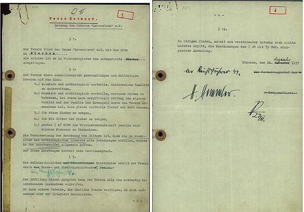 """""""Lebensborn""""-Vereinsstatut von 1935"""