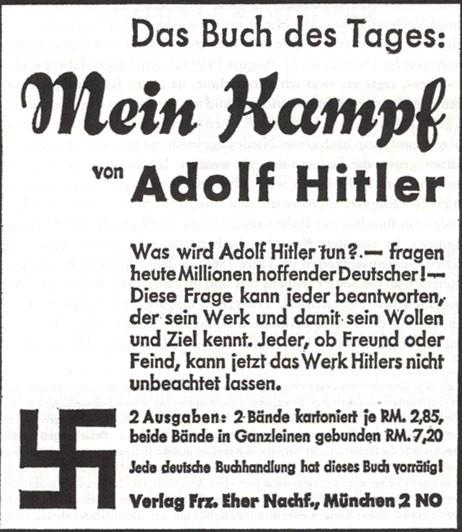 """Inserat des Franz Eher Verlags im """"Völkischen Beobachter"""" am 31. Januar 1933"""