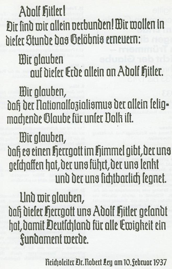 """Nationalsozialistisches """"Glaubensbekenntnis"""""""