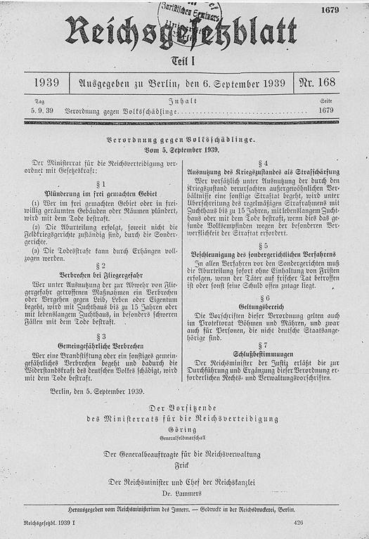 """NS-Justiz-Verordnung gegen """"Volksschädlinge"""" 1939"""