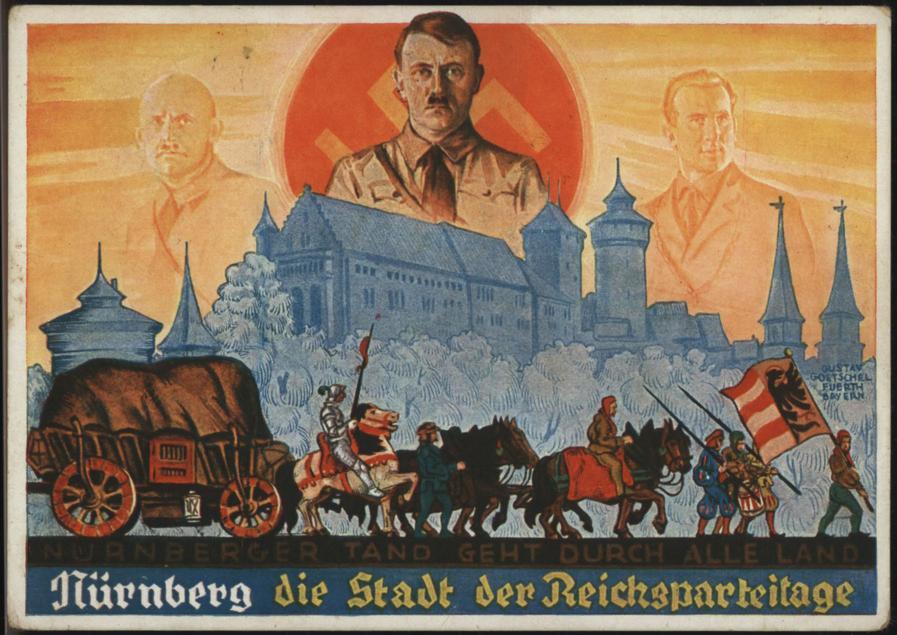 Streicher-Postkarte mit Hitler-Mystik und der Nürnberger Burg