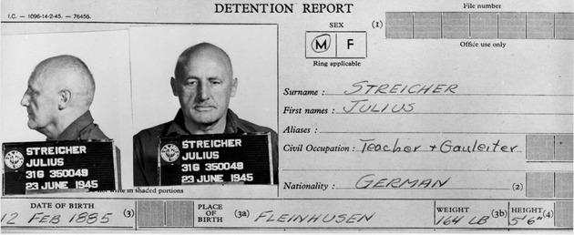 Streichers Gefängnis-Karteikarte als Kriegsverbrecher