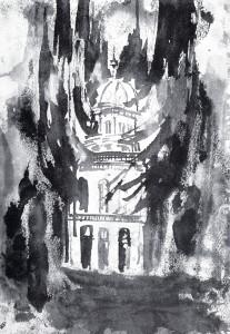 Synagoge brennt, Tuschezeichnung von Tisa von der Schulenburg