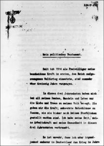 Erste Seite des politischen Testaments Hitlers