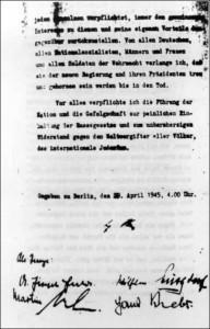 Letzte Seite von Hitlers politischem Testament
