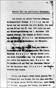 Seite aus Hitlers politischem Testament