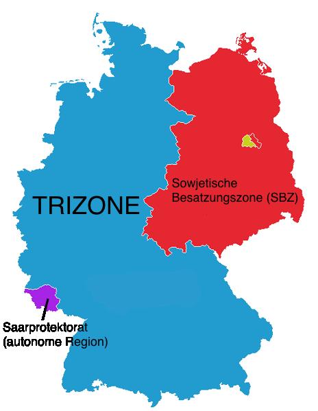 Westliche Trizone und östliche SBZ