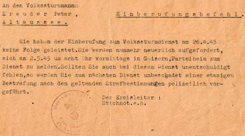 Einberufungsbefehl zum Volkssturm vom 2. Mai 1945