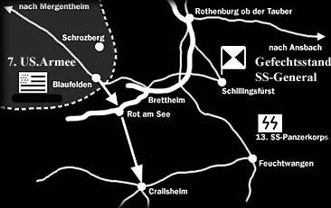 Karte der militärischen Lage um Brettheim im April 1945