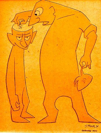 """""""Die Entnazifizierung"""", Karikatur von Stury"""