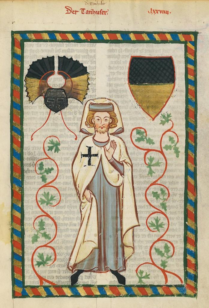 Tannhäuser als Deutschordensritter; Miniatur aus dem Codex Manesse mit Tatzenkreuz