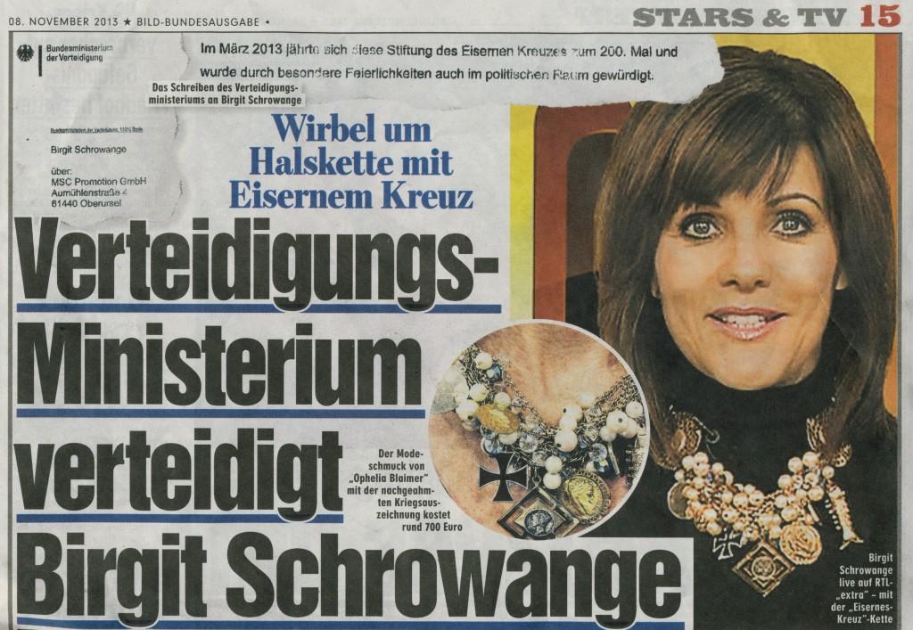 Bildzeitung vom 8. November 2013 (Ausriss)