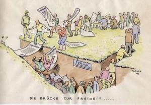 Zeitgenössische Karikatur zum Thema Entnazifizierung; Foto: Staatsarchiv Stuttgart