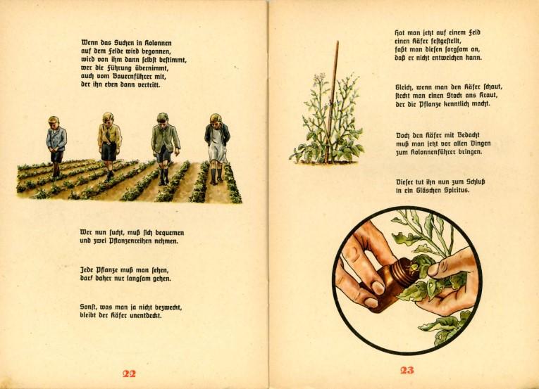 Innenseiten der Kartoffelkäfer-Fibel aus dem Jahre 1941