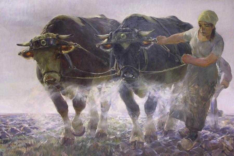 """Perfekt gemalte Menschen, Tiere und Landschaften galten als Inbegriffe """"deutscher Kunst"""" (Max Bergmann. """"Die Scholle"""")"""