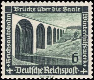 Die WHW-Briefmarke von 1936 wirbt für die Reichsautobahn (Saalebrücke)