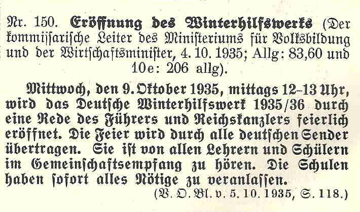 Verordnungsblatt vom 5. Oktober 1935 zur Gründung des Winterhilfswerks