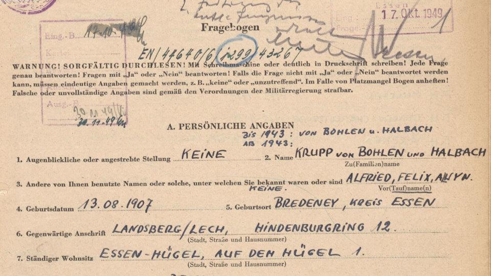 Entnazifizierungsakte (Ausriss) des Großindustriellen Alfried Krupp von Bohlen und Halbach (Essen)
