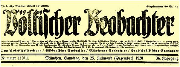 vÖLKISCHER bEOBACHTER;  nach Übernahme NSDAP