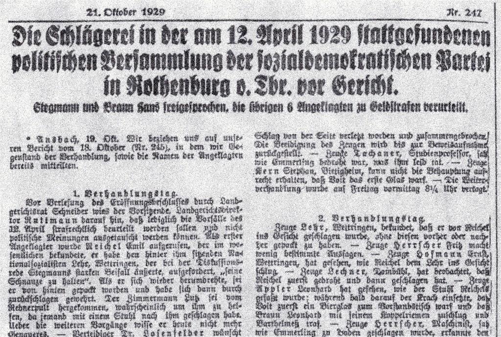 """Gerichtsbericht im """"Fränkischen Anzeiger"""" vom  21. Oktober 1929 (Ausriss)"""