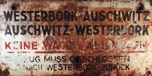 Erhaltene Zugtafel Westerbork-Auschwitz