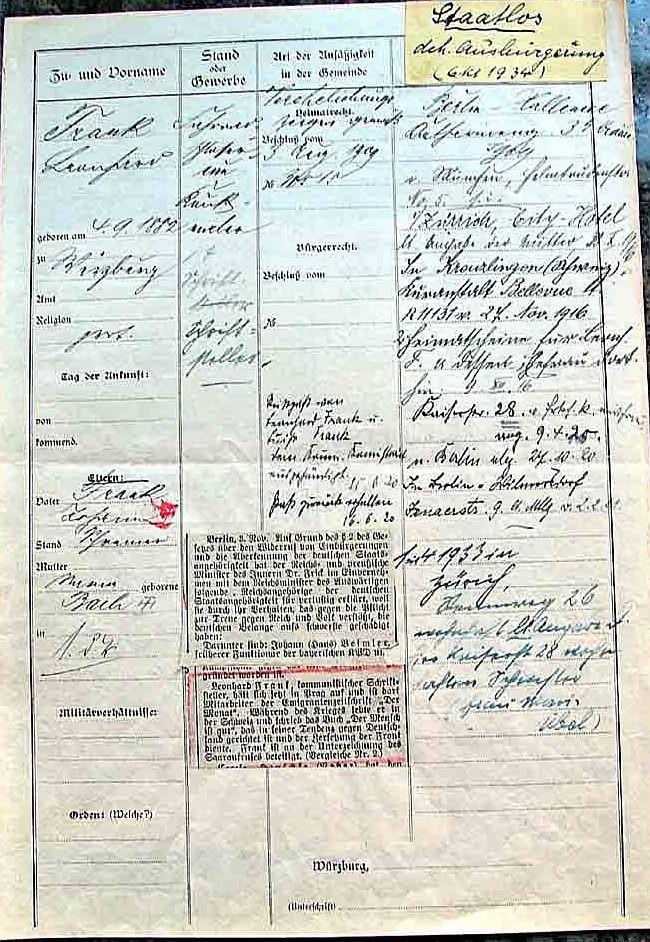 Ausbürgerung 1934