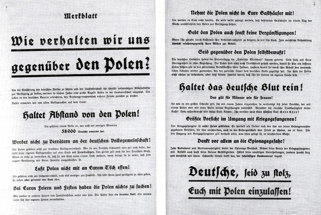 Merkblatt über das Verhalten gegenüber polnischen Zwangsarbeitern