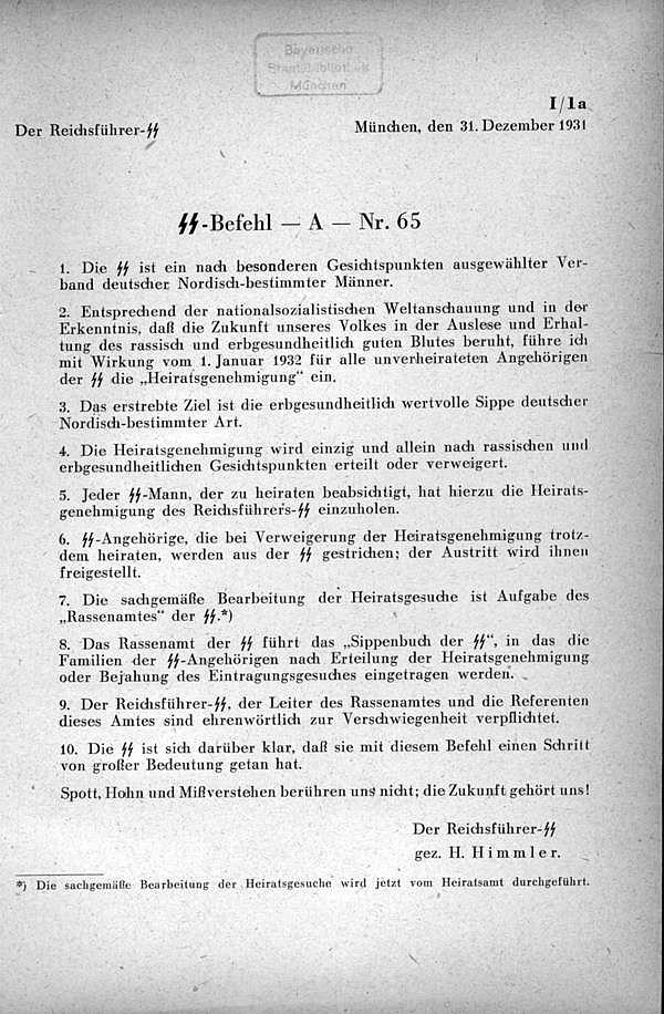 Zeugungsbefehl Heinrich Himmlers 1931