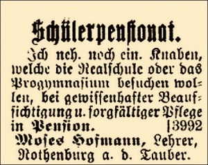 """Anzeige in der Zeitschrift """"Israelit"""" vom 13. Juni 1900"""