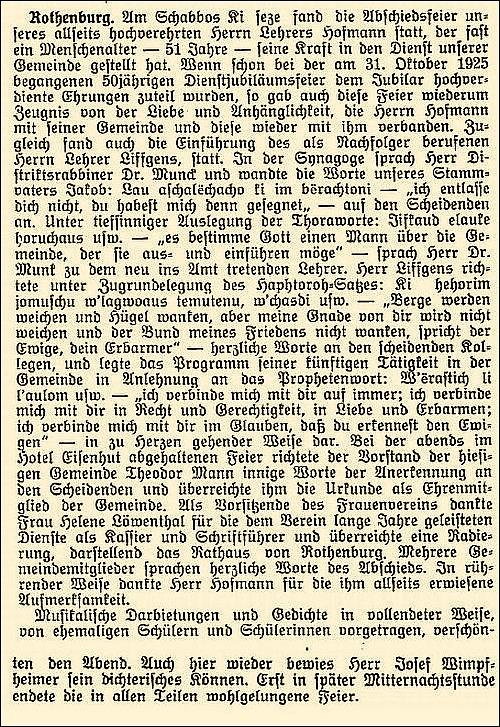 """Artikel vom 8. September 1926 in der Zeitschrift """"Israelit"""""""