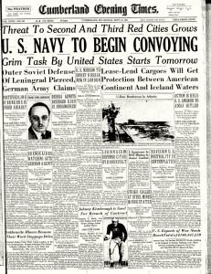 """Titelseite der """"Cumberland Evening Times"""" vom 15. September 1941"""