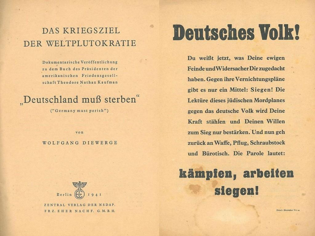 Innenseiten der NS-Propagandaschrift von 1941