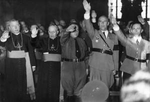 """Nach dem Reichskonkordat grüßen alle mit """"Heil Hitler!"""" (li. Minister Göring)"""
