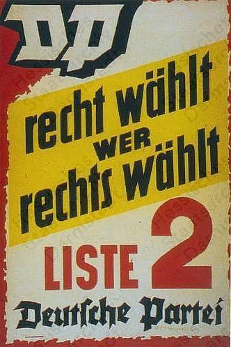 Wahlplakat der Deutschen Partei (DP) in Hessen 1953