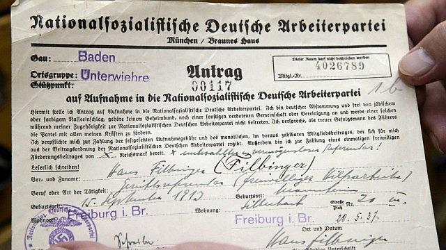 Der im Archiv entdeckte NSDAP-Aufnahmeantrag Hans Filbingers
