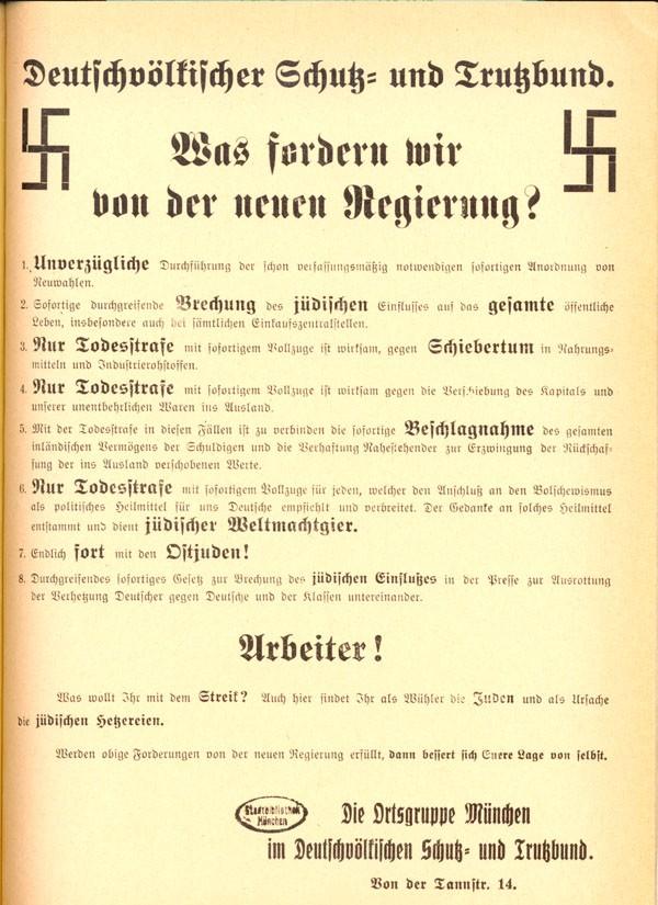 Plakat des Schutz- und Trutzbundes