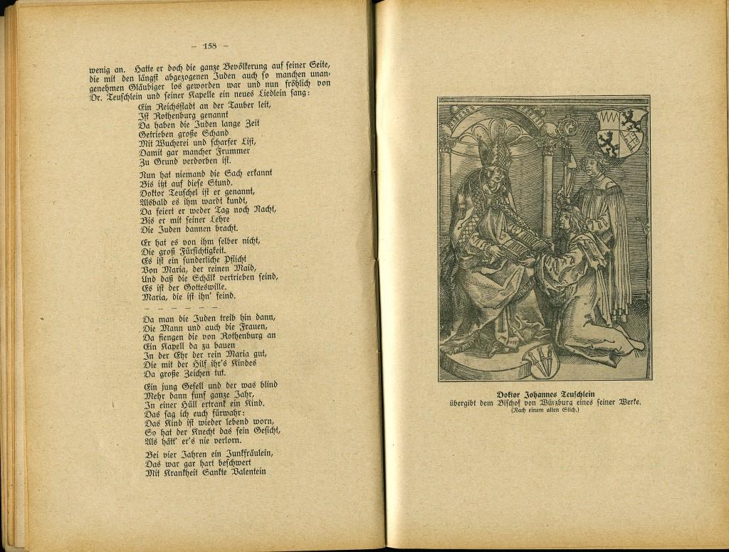 Zwei Seiten aus der Chronik; rechts übergibt Johannes Teuschlein dem Würrzburger Bischof eines seiner Werke
