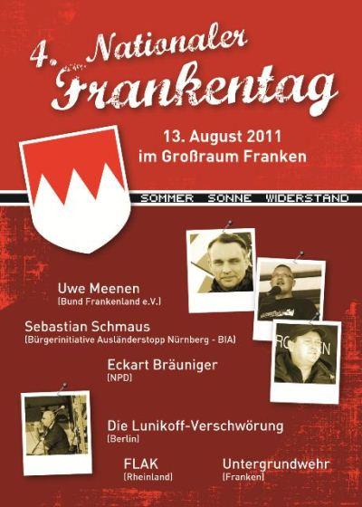 """""""Ankündigung des """"Nationalen Frankentags"""" der Rechtsradikalen 2011"""