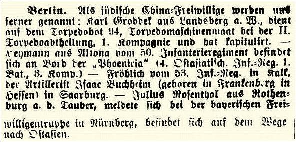 """Aus """"Israelit"""" vom 27. August 1900"""