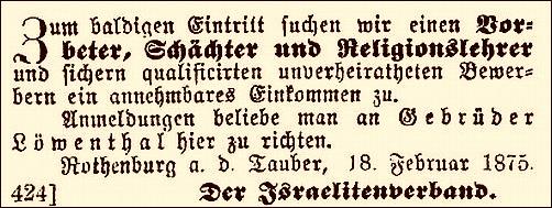 Jüdischer Gemeinde-Anzeiger vom 3. März 1875