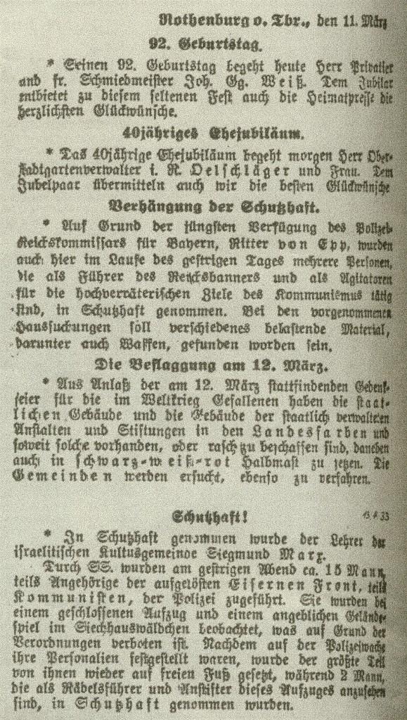 Fränkischer Anzeiger: Nachrichten vom 11. März und die unterste vom 13. April 1933