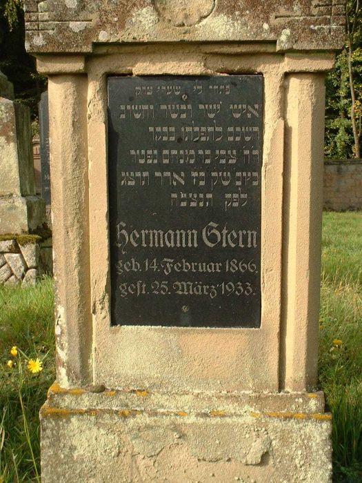Grabstein des 1933 ermordeten .... Stern auf dem Creglinger jüdischen Friedhof