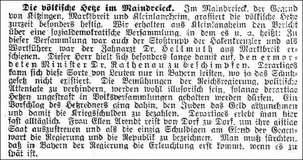 Artikel aus der Zeitschrift des Central-Vereins deutscher Staatsbürger jüdischen Glaubens, 1922