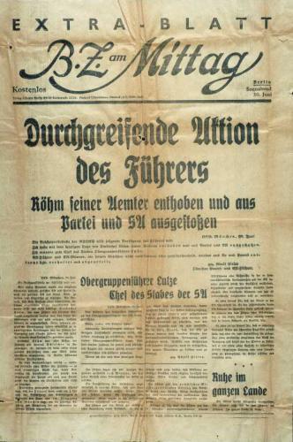 Extra-Blatt der Berliner Zeitung über die Mordtat (1934)