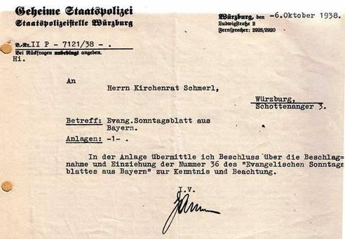 Beschlagnahme-Mitteilung der Gestapo