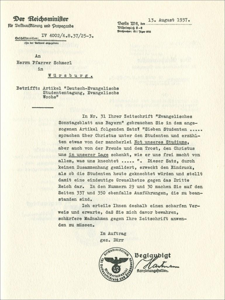 Verbotsbeschluss des Propagandaministeriums