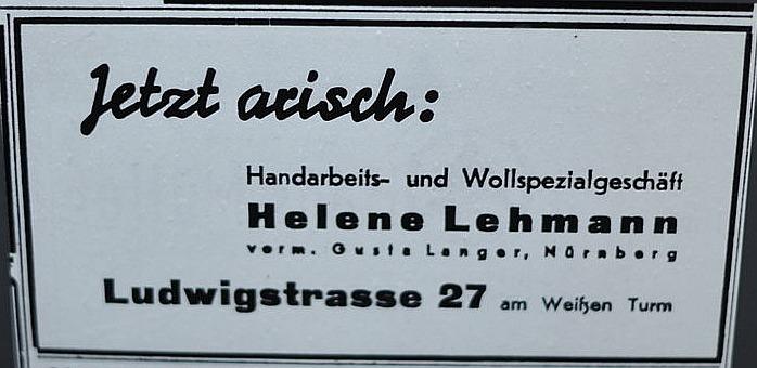 Zeitungsanzeige über eine Arisierung in Nürnberg 1938